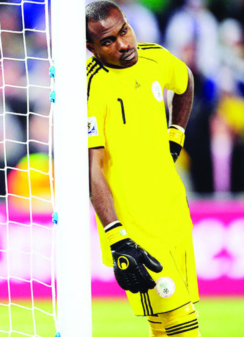 SOBER…Super Eagles first choice goalkeeper, Vincent Enyeama in sober mood, probably thinking of Nigeria's poor position in the world at the moment.