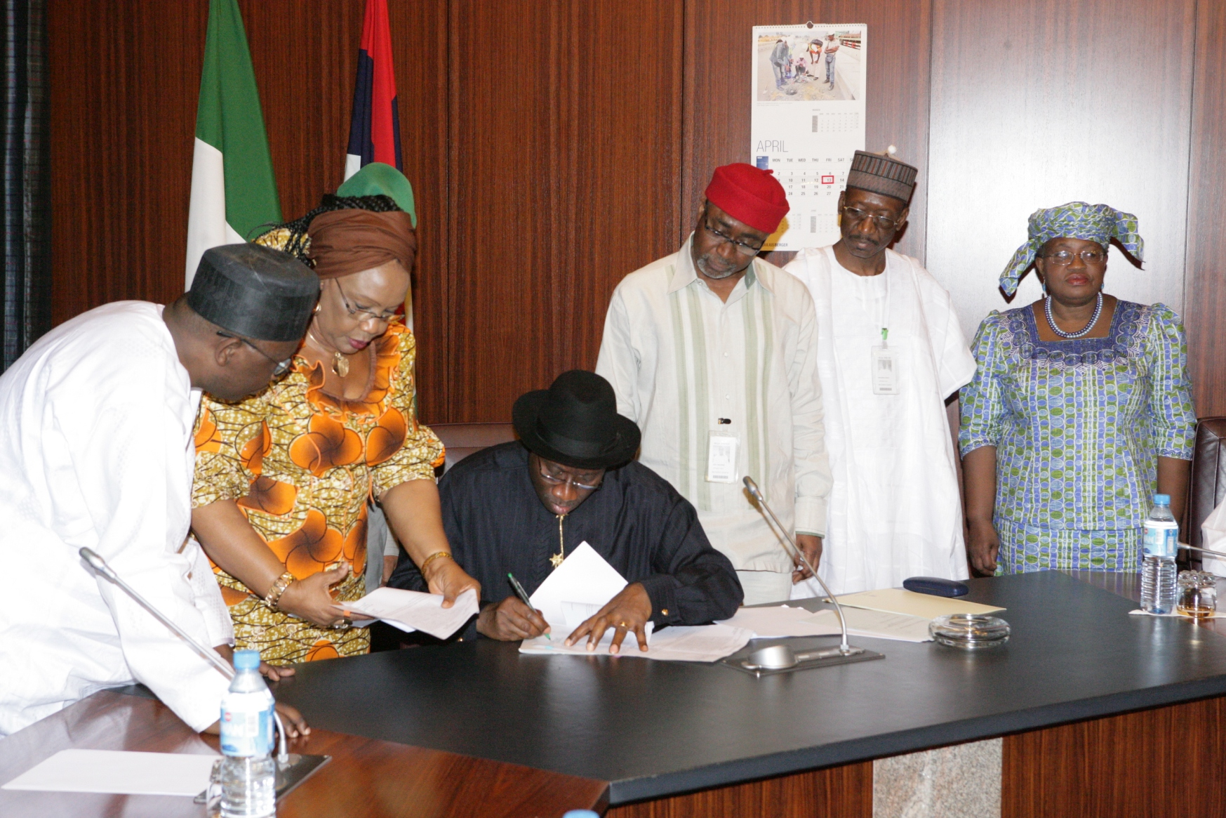 appropriation, goodluck signing with adoke, emordi,, abaribe, maccido and iweala