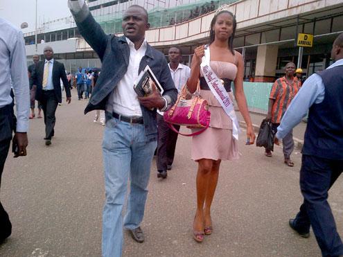 Miss Deaf International, Cassandra White arriving the Murtala Muhammed International Airport in Lagos, southwest Nigeria Monday.