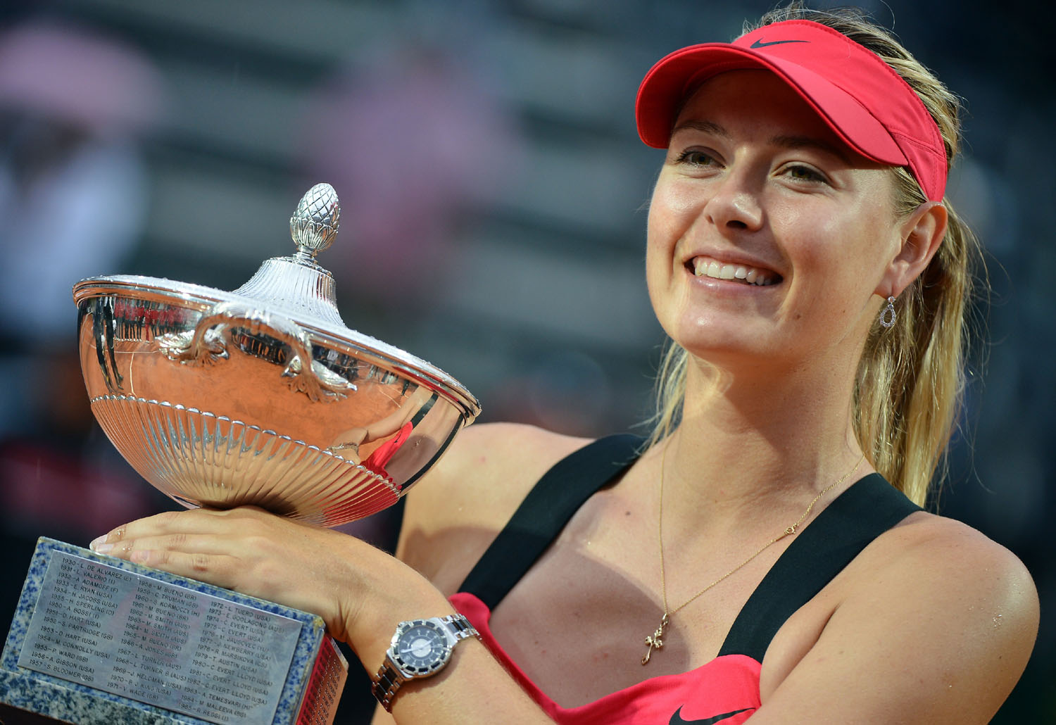 Sharapova with the Rome masters trophy after beating Li Na on Sunday AFP Photo