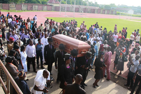 •The remains of the late Sofoluwe at All Saints Church, Montgomery, Yaba, before  burial this afternoon. PHOTO: ABEEB OGUNBADEJO.