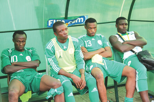 PENSIVE…Super Eagles' players in a bad mood after a match.