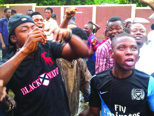 UNILAG students protesting this morning