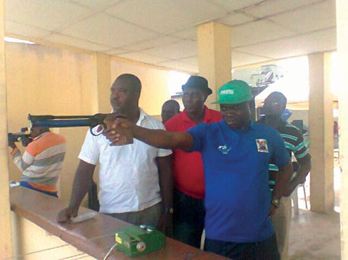 •Action from the Shooting tourney held recently at the Shooting Range, Rowe Park in Yaba, Lagos.