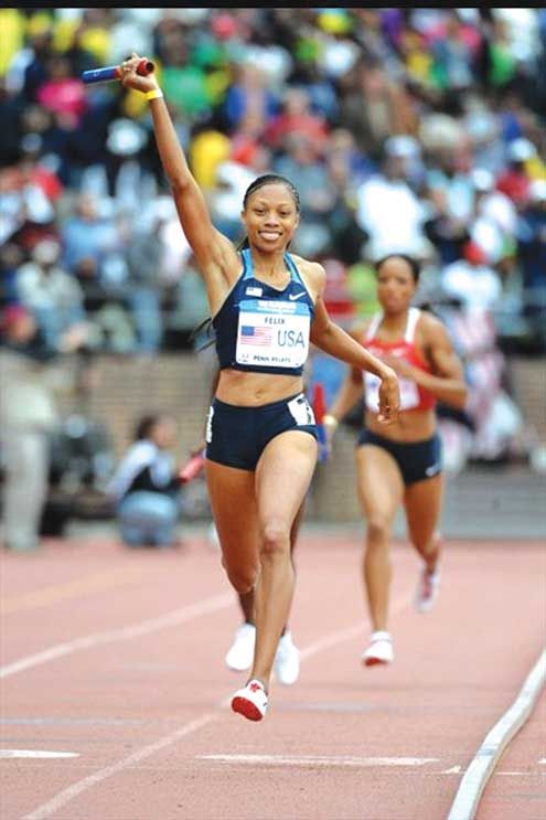 •Allyson Felix in action during a recent tournament.