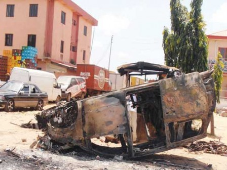 A bombed out car in Damaturu.