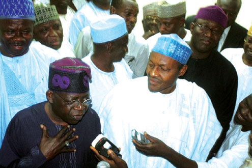 •Former Governor of Lagos State and ACN leader Asiwaju Bola Ahmed Tinubu (l) fielding question from journalists and  former military Head of State, General Muhammadu Buhari, CPC Presidential candidate in April 2011 election, at a meeting in  Buhari's residence in Kaduna, yesterday.