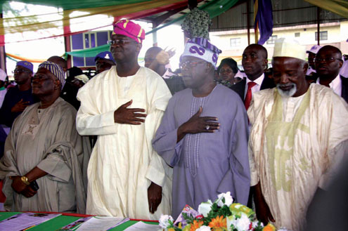 •L-R Chief Bisi Akande, Governor Babatunde Raji Fashola, Asiwaju Bola Ahmed Tinubu and Alhaji Baralabe Musa, during the 19th Anniversary of June 12 held at the LTV 8  in Agindingbi, Lagos State, this morning. PHOTO EMMANUEL OSODI.
