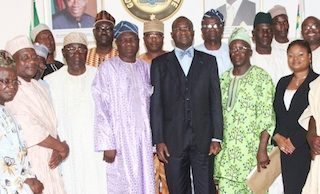 Fashola, deputy governor, Orelope and officials of NURTW