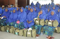 female pilgrims at Jeddah airport
