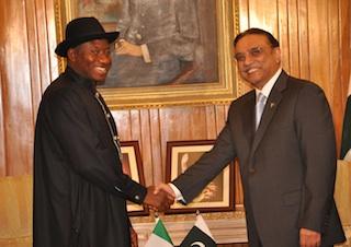 Jonathan with Pakistani Pres. Ali Zardari