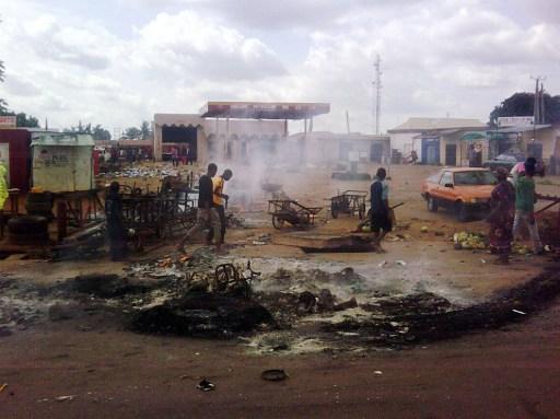 File photo: a relic of Boko Haram bombing in Kaduna