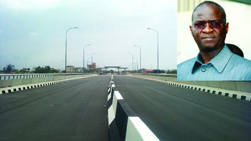 The new Lekki-Ikoyi Bridge. Inset is Lagos State Governor Babatunde Fashola