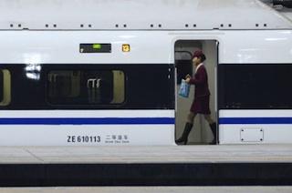A stewardess on China's bulllet train