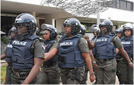 fully kitted Nigerian policemen