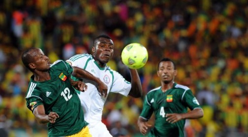 Nigeria's Echiejile struggles with the ball against Ethiopian players