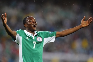 Ahmed Musa reacts after his goal