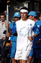 Vassilis Papageorgopoulos, with the Olympic torch in 2004
