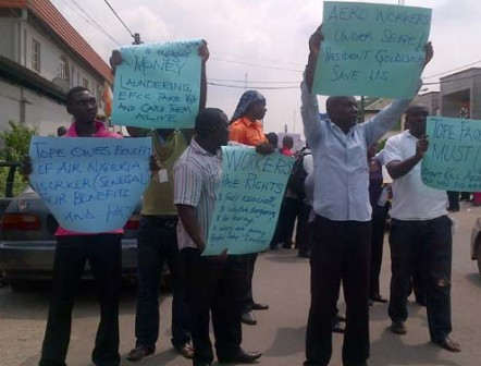 Aero Contractors staff protesting at their company's headquarters on Monday morning. Photo... Simon Ateba