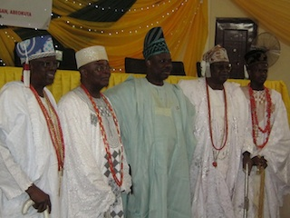Governor Amosun with the four leading Obas in Ogun state