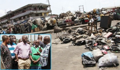 What an eye sore!: Governor Fashola at the Ladipo market today