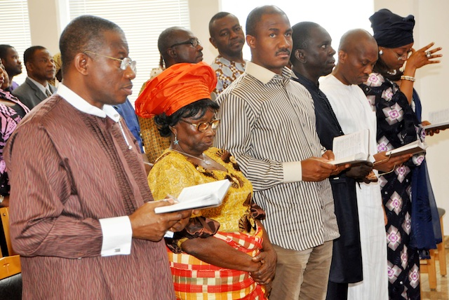 Jonathan, his mother and other guests at Friday service in Aso Rock