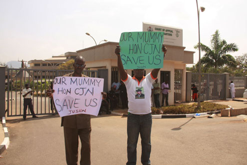 Judiciary workers during a strike action in Abuja