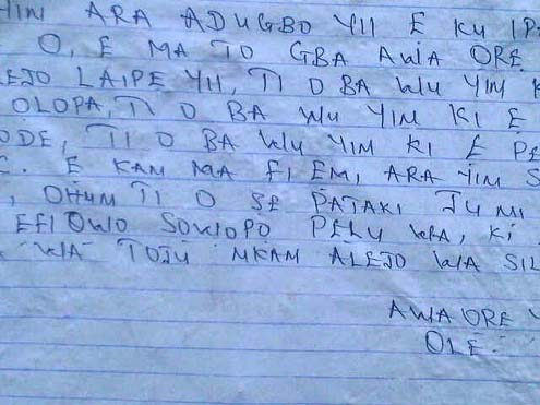 Letter by Robbers
