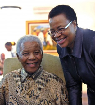 File photo: Mandela with Graca Machel in 2011