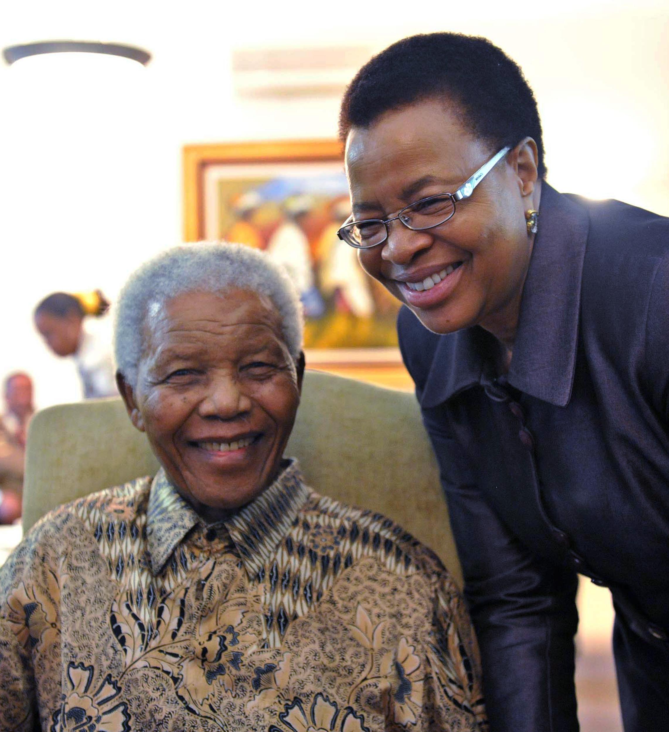 File photo: Mandela with Graca Machel