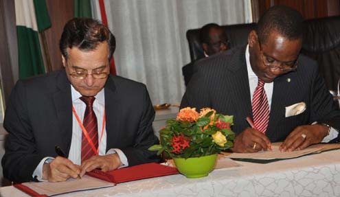 MINISTER OF FOREIGN AFFAIRS, AMB OLUGBENGA ASHIRU (R) SIGNING AN MoU WITH THE LEBANESE FOREIGN MINISTER, MR ADNAN MANSOUR AT A BILATERAL MEETING BETWEEN THE TWO COUNTRIES DURING THE VISIT OF LEBANESE PRESIDENT MICHEL SLEIMAN IN ABUJA ON MONDAY