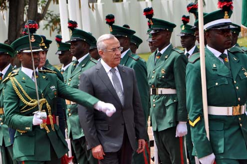 PRESIDENT MICHEL SLEIMAN OF LEBANON INSPECTING GUARD OF HONOUR MOUNTED  BY THE NIGERIAN ARMY DURING HIS VISIT AT THE PRESIDENTIAL VILLA ABUJA ON MONDAY