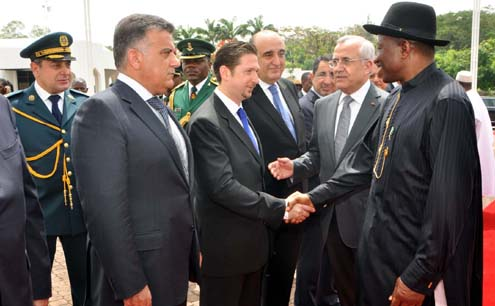 VISITING PRESIDENT MICHEL SLEIMAN OF LEBANON (2ND R) INTRODUCING MEMBERS OF HIS CABINET TO PRESIDENT GOODLUCK JONATHAN (R) AT THE PRESIDENTIAL VILLA ABUJA ON MONDAY