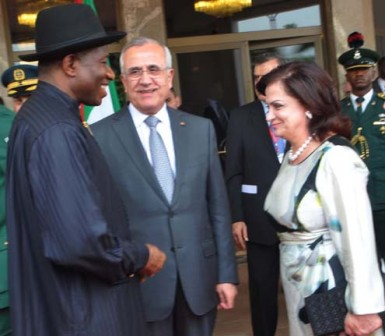 FROM LEFT: PRESIDENT GOODLUCK JONATHAN;  PRESIDENT MICHEL SLEIMAN OF LEBANON AND HIS WIFE, WAFAA, DURING THE VISIT OF THE LEBANESE PRESIDENT TO ABUJA ON MONDAY