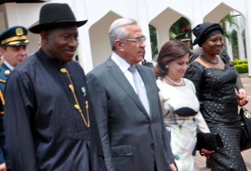 FROM LEFT: PRESIDENT GOOLUCK JONATHAN; VISITING PRESIDENT MICHEL SLEIMAN OF LEBANON; HIS WIFE, WAFAA AND THE MINISTER OF STATE FOR FOREIGN AFFAIRS 1, PROF VIOLA ONWULIRI DURING THE VISIT OF THE LEBANESE PRESIDENT TO ABUJA ON MONDAY