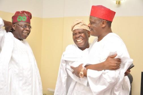 File photo: Kwankwaso, right, with APC leaders, Akande and Tinubu
