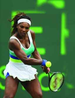 •BACKHAND... Serena Williams plays a backhand against Dominika Cibulkova of Slovakia during their fourth round match at the Sony Open at Crandon Park Tennis Center yesterday in Key Biscayne, Florida. PHOTO: AFP.