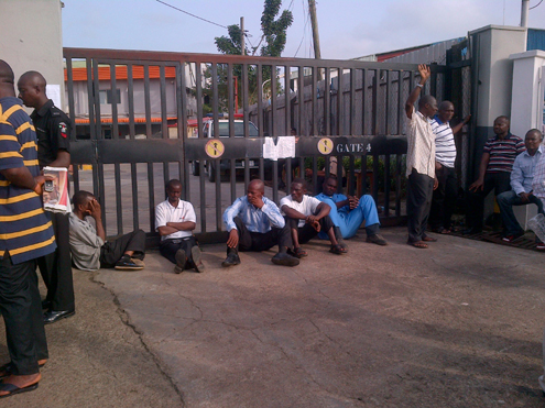 Aero workers at the company's gate