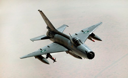 a fighter plane Chengdu F-7 made in China: Nigeria has 9 of them in its fleet