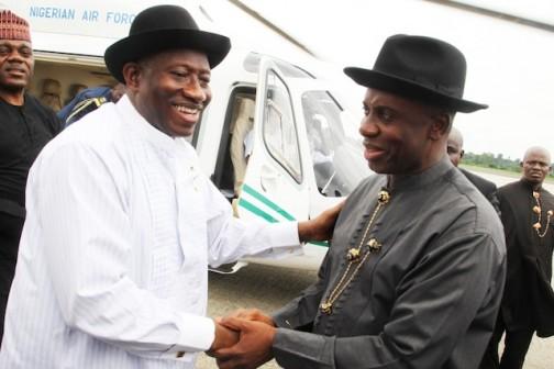 File Photo: Amaechi receives Jonathan at PH International Airport
