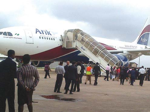The new generation aircraft unveiled in Lagos today by Arik Air. PHOTO… SIMON ATEBA