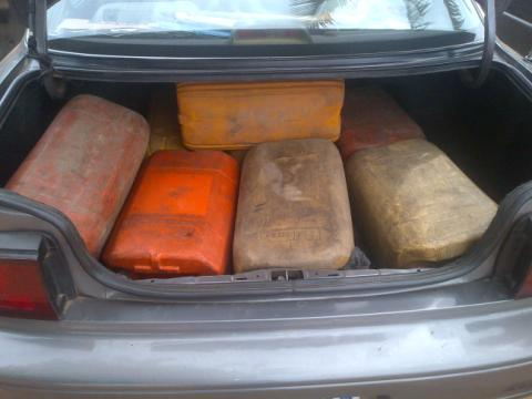 Jerry cans already filled with petrol