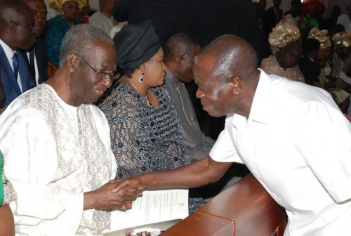 Adams Oshiomhole, governor of Edo State also came to pay some respects---well to his elder