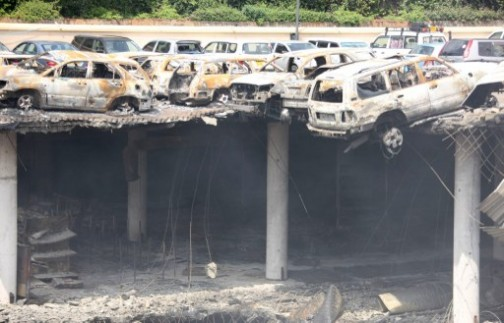 One of the telling effects of the terrorist attack: the parking lot at Westgate Mall, destroyed