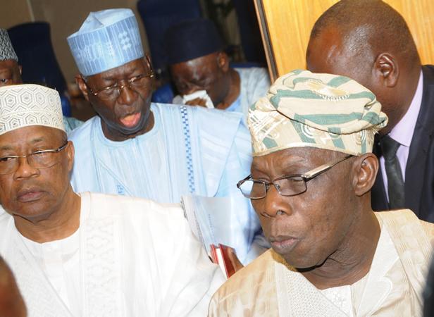 IBB, Obasanjo, Anenih at the peace meeting