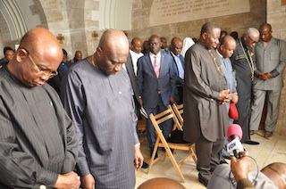 FROM LEFT: GOV PETER OBI OF ANAMBRA; GOV THEODORE OF ABIA; PRESIDENT, CHRISTIAN ASSOCIATION OF NIGERIA, PASTOR AYO ORITSEJAFOR; EXECUTIVE SECRETARY, NIGERIAN CHRISTIAN PILGRIMS COMMISSION, MR JOHN KENNEDY OPARA AND PRESIDENT GOODLUCK JONATHAN AT THE UPPER ROOM (WHERE JESUS HAD THE LAST SUPPER WITH HIS DISCIPLES). Photo State House