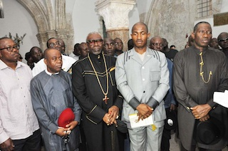PRESIDENT GOODLUCK JONATHAN WITH OTHER PILGRIMS PRAYING AT MOUNT OLIVES (WHERE JESUS TOOK A BROAD VIEW OF JERUSALEM)