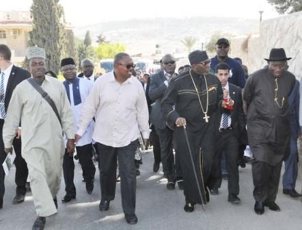 Jonathan, Labaran  Maku, Obi and Oritsejafor on Palm Sunday Road
