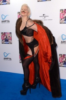 US singer Lady Gaga poses on the red carpet as she arrives at Berghain in Berlin on October 24, 2013.