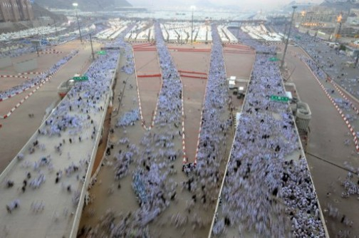Muslim pilgrims arriving for the symbolic throwing of pebbles at the devil